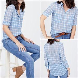BB Dakota Sheer Blue Plaid Button Down Shirt M